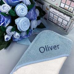 Luxury Rose Baby Clothes Bouquet and Personalised Baby Towel- Blue