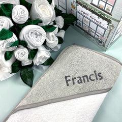 Luxury Rose Baby Clothes Bouquet and Personalised Baby Towel - White