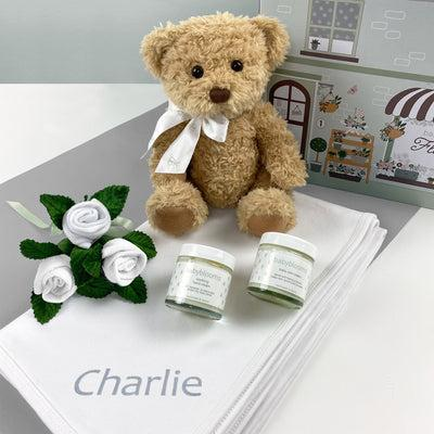 Personalised Bertie Bear Hello Baby Hamper Neutral