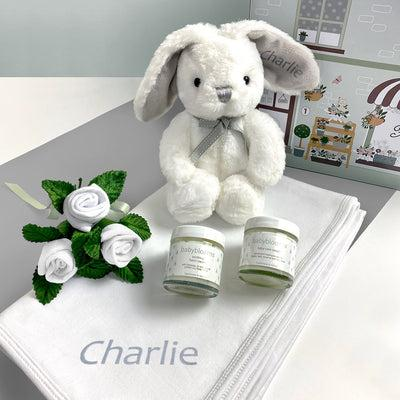 Personalised Little Grey Bunny Hello Baby Hamper