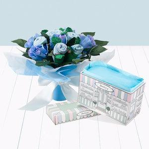 Hand Tied Baby Clothes Bouquet with Boxed Pyjamas - Blue