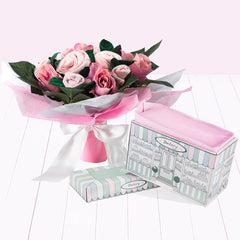 Hand Tied Baby Clothes Bouquet with Boxed Pyjamas - Pink