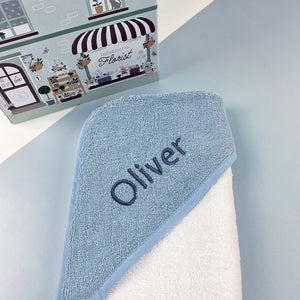 Personalised Baby Hooded Towel, Blue