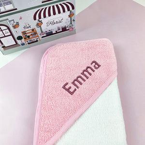 Personalised Baby Hooded Towel, Pink