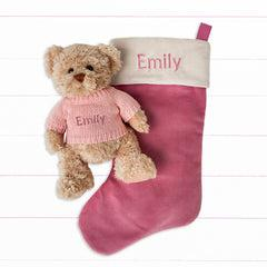 Bertie Bear's Personalised Christmas Stocking in Pink
