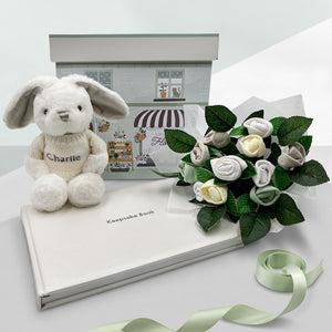 Personalised Baby Blessings Keepsake Set with Little Grey Bunny