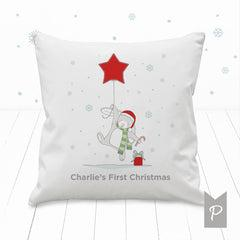 Little Bunny Personalised My First Christmas Nursery Cushion