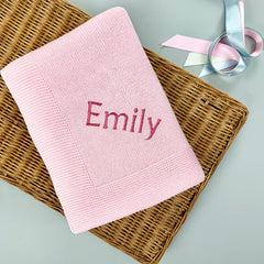 Personalised Knitted Baby Blanket, Pink