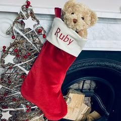 Bertie Bear's Personalised Christmas Stocking in Red