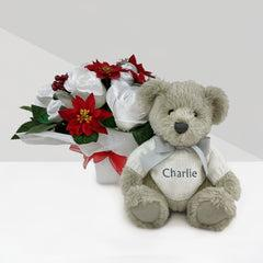 Christmas Luxury Rose Baby Clothes Bouquet with Personalised Berkeley Bear, Grey