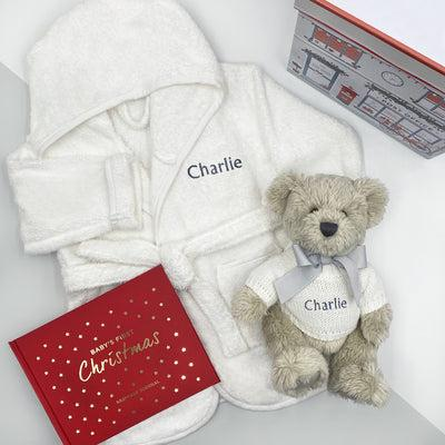 Baby's First Christmas Keepsake Journal with Personalised Berkeley Bear and Bathrobe, Grey