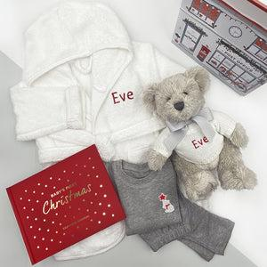 Personalised Christmas Bedtime Set with Berkeley Bear Soft Toy, Red
