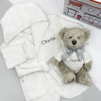Berkeley Bear's Personalised Christmas Bathrobe Set, Grey