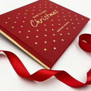 Baby's First Christmas Keepsake Journal with Personalised Berkeley Bear, Red