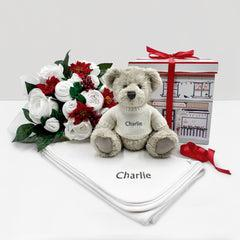 Christmas Luxury Rose Baby Clothes Bouquet with Personalised Snuggle Wrap and Berkeley Bear, Grey