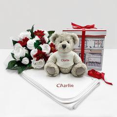 Christmas Luxury Rose Baby Clothes Bouquet with Personalised Snuggle Wrap and Berkeley Bear, Red