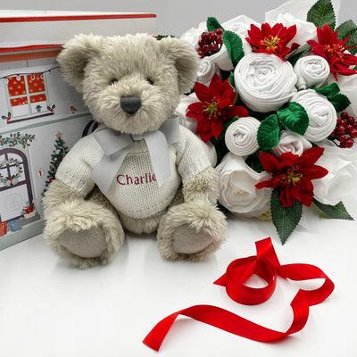 Christmas Luxury Rose Baby Clothes Bouquet with Personalised Berkeley Bear, Red