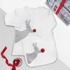 Reindeer Sparkle Christmas T-Shirt and Bib Outfit