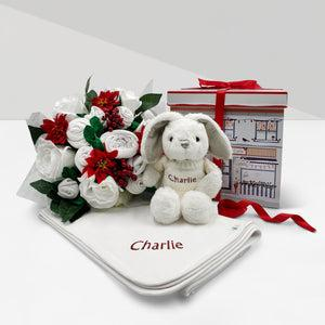 Christmas Luxury Rose Baby Clothes Bouquet with Personalised Snuggle Wrap and Baby Bunny Soft Toy, Red