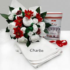 Christmas Luxury Rose Baby Clothes Bouquet with Personalised Snuggle Wrap, Grey