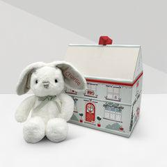 Personalised Christmas Baby Bunny with Christmas Gift Box, Red