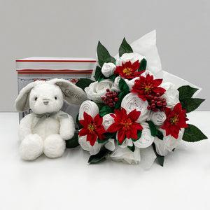 Christmas Luxury Rose Baby Clothes Bouquet with Personalised Baby Bunny, Grey