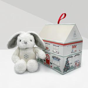Personalised Christmas Baby Bunny With Jumper With Christmas Gift Box