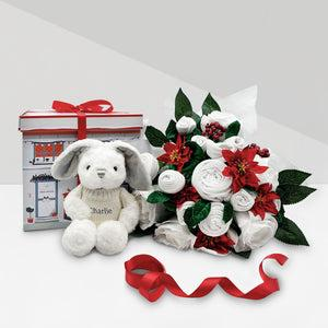 Christmas Luxury Rose Baby Clothes Bouquet with Personalised Baby Bunny with Jumper, Grey