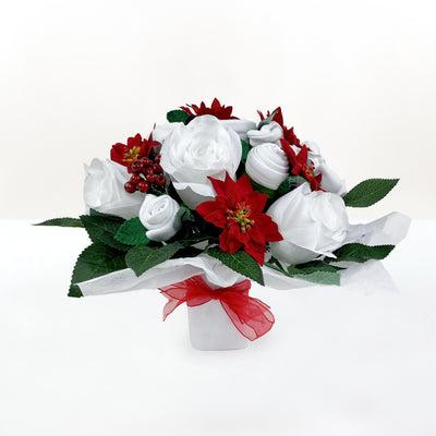 Christmas Luxury Rose Baby Clothes Bouquet with Personalised Baby Bunny with Jumper, Red