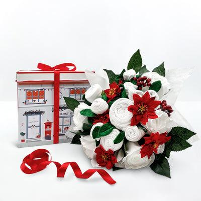 Christmas Luxury Rose Baby Clothes Bouquet with Personalised Baby Bunny, Red