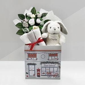New Baby Christmas Welcome Hamper with Personalised Baby Bunny, Grey