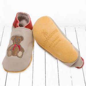 Leather Shoes with Teddy Embroidery