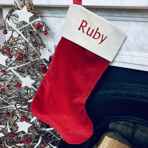 Personalised Christmas Stocking, Red